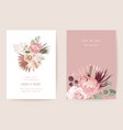 botanical wedding invitation card template design vector image vector image