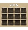 Calendar 2016 year design template in vector image vector image