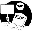 cartoon hand coming out of a grave holding a sign vector image vector image