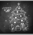 chalk sketch of christmas tree vector image