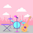 collection instruments musical equipment vector image