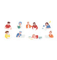collection of teenage boys and girls sitting at vector image