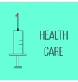 concept of health care with outline syringe vector image