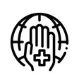 cross on hand palm planet thin line icon vector image