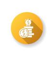deposit yellow flat design long shadow glyph icon vector image