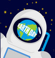 earth day helmet astronaut and planet reflected vector image vector image