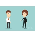 Female boss with whip training lazy employee vector image vector image