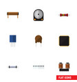 flat icon appliance set of receptacle resistor vector image vector image