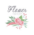 flower shop green and pink colorful logo template vector image vector image