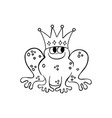 frog wearing a crown outlined cartoon handrawn vector image