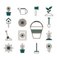 garden line and fill style set icons design vector image vector image