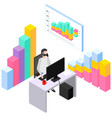 guy is working with data and speaking vector image vector image