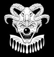 hand drawn angry clown with ram skull tattoo vector image