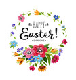 happy easter card with lettering and flowers vector image