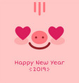 happy new year 2019 zodiac pig sign character face vector image vector image