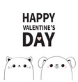 happy valentines day cat dog face contour vector image vector image