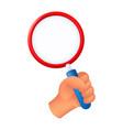 human hand holding a magnifying glass 3d cartoon