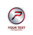 initial letter p logo template colored red silver vector image vector image