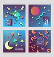 invitation congratulation cards set memphis style vector image vector image