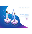 isometric banner virtual reality in medicine 3d vector image vector image