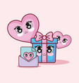 kawaii gift box and hearts vector image