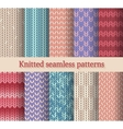 knitted seamless patterns set vector image vector image