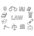 law doodle art with outline style hand drawn vector image vector image