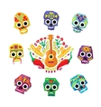 mexico flowers skull elements vector image vector image
