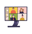 pc screen with online distant conference on vector image vector image