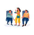 people in airplane cartoon men sitting vector image