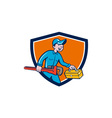 Plumber Carrying Monkey Wrench Toolbox Shield vector image vector image