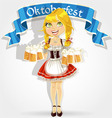 Pretty girl in traditional costume with a beer vector image