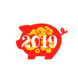 red pig as chinese new year 2019 zodiac sign vector image