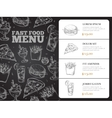 Restaurant brochure menu design with hand vector image