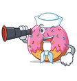 sailor with binocular donut mascot cartoon style vector image vector image