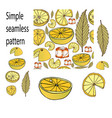 seamless pattern of lemon ice hand drawn style vector image vector image
