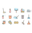 set of cleaning service icons and symbols on white vector image vector image