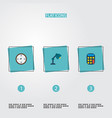 set of office icons flat style symbols with table vector image