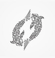 silhouette of two carp from decorative ornate vector image vector image