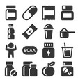 sport supplements icons set fitness food on white vector image