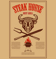 steak house poster template with bbq grill and vector image vector image