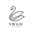swan line art logo design luxury spa vector image