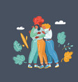 three friends together vector image vector image