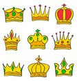 various crown style of doodle set collection vector image vector image