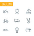 vehicle icons line style set with cabriolet bus vector image