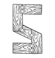 wooden letter s engraving vector image