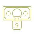 yellow line bill cash money with padlock security vector image