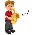funny boy cartoon playing trumpet vector image
