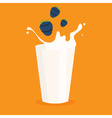 milk splash in the glass and blackberry vector image