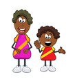 african black boy cartoon with mother isolated on vector image vector image